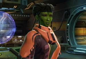 The Smuggler Class is my favorite class.  Lindrossa is a Smuggler  Gunslinger.  I got a real kick out of the idea that I could make an Orion Slave Girl in the Star Wars universe.  I know that isn't the race name, but thats sure what they look like to me.  Too much Trek as a kid????
