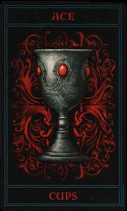 Ace of Cups from the Gothic Tarot.  Art by Joseph Vargo.